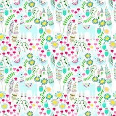Floral Llama - White fabric by shopcabin on Spoonflower - custom fabric
