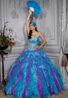 MZ0912 Strapless Purple and Blue Organza Beaded Rhinestones Quinceanera Dresses with Ruffles $179.88