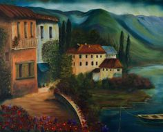 "Villas Along the Water by Shelley Bauer Oil ~ 24"" x 30"""