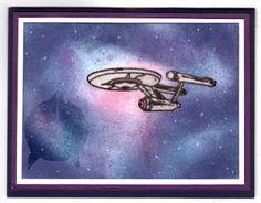 sponging Star Trek birthday card