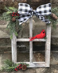 Window Decorations for Christmas : Farmhouse Christmas Decor Christmas Decorated Window Pane Winter Window Pane Decor Christmas Window Frame Rustic Wooden Window PaneHandcrafted, heavy barnwood four pane window frame piece is dressed for the holidays Farmhouse Christmas Decor, Christmas Wood, Outdoor Christmas, Christmas Projects, Winter Christmas, Christmas Holidays, Reindeer Christmas, Christmas Ideas, Christmas Cookies