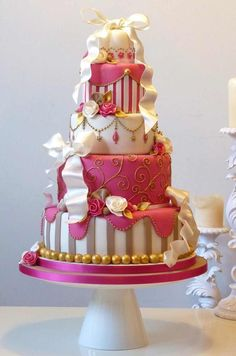 Pink And White Cake. What A Cute Little Princess-Type Cake throughout Pretty Cake Designs - Cake Design Ideas Gorgeous Cakes, Pretty Cakes, Cute Cakes, Amazing Cakes, Beautiful Gorgeous, Crazy Cakes, Fancy Cakes, Pink Cakes, Unique Cakes