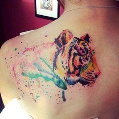 Colorful tiger tattoo