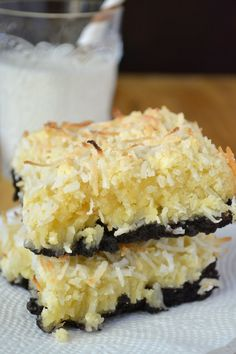 The perfect marriage between rich chocolatey brownie and fluffy coconut ~~ #Dessert