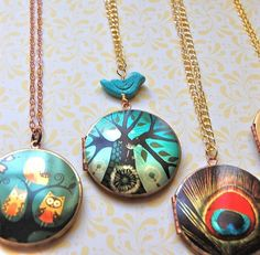 colorful lockets......Love the sparrow one!