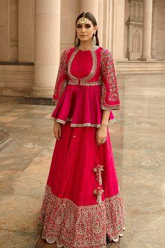 May 2020 - Buy Silk Embroidered Kurta Lehenga Set by Jayanti Reddy at Aza Fashions Indian Fashion Dresses, Indian Gowns Dresses, Dress Indian Style, Indian Designer Outfits, Designer Dresses, Designer Wear, Indian Wear, Indian Outfits, Kurta Lehenga