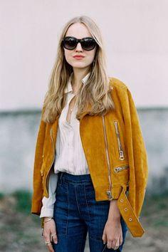 Mustard jacket, white shirt & blue jeans!!! by vanessa jackman