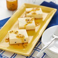 Check out White Chocolate Passionfruit Cheesecake Slice on myfoodbook Passionfruit Cheesecake, Passionfruit Recipes, Passionfruit Slice, Easy Cheesecake Recipes, Cookie Recipes, Chef Recipes, Kitchen Recipes, Christmas Recipes, No Bake Slices