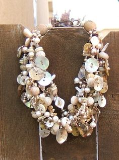 Bead and Button and Pearls Necklace by Cindy Chavez