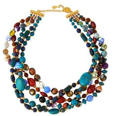 Jose & Maria Barrera Chunky Multi-Stone Necklace (8.707.770 IDR) ❤ liked on Polyvore featuring jewelry, necklaces, collar, jeweller, blue, chain collar necklace, hook necklace, flat chain necklace, blue jewelry and chain necklaces