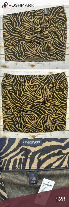 """Lane Bryant Tiger Print Skirt Lane Bryant Tiger Print Skirt  Size 28 new with tags. 24"""" waist and 24"""" length. Please let me know if you have any questions. I ship the same day as long as the post office is still open. Have a great day, thanks for checking out my closet and happy poshing! Lane Bryant Skirts Midi"""