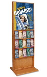 22x28 Wood Poster Display Stand (15 Pocket Brochure Holders) - at FloorStands