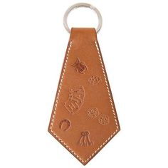 8dcca74b1 Hermes Key Ring Super Lucky Charms Tab Tie Shaped Embossed Barenia Rare