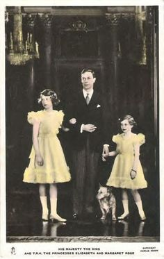 King George VI with his beloved daughters Princess Elizabeth Alexandra Mary and Princess Margaret Rose