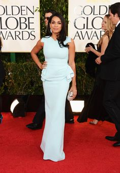 Rosario Dawson dons a light blue, peplum gown on the red carpet.