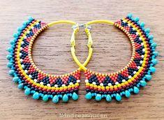 Red white and black beaded hoops (Sylvia Windhurst) Tags: needlework beadwork handmadejewelry beadweaving sterlingearrings brickstitch seedbeadearrings beadedhoops offloombeadweaving tribalearrings bohoearring - Salvabrani Brick Stitch Earrings, Seed Bead Earrings, Hoop Earrings, Seed Beads, Beaded Earrings Patterns, Beading Patterns, Bead Jewellery, Beaded Jewelry, Jewelery