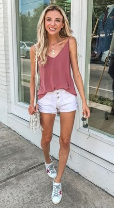 Mauve Tank and White Shorts