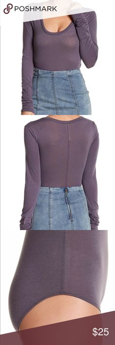 Free People Body Suit Lavender Works great for layering. Lightweight material but not see through. Still has tags and was never worn. Offers are welcome. Free People Tops Tees - Long Sleeve