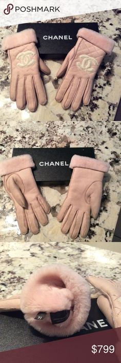 BARE PINK CHANEL LEATHER GLOVES💕 Elegant Chanel logo soft calf leather gloves lined and super warm.   * cannot be bundled*.  You won't find these anywhere else.  Gently worn and could use a gentle cleaning, mostly on the palm side of the gloves.  They haven't been worn for 10 years and have been in their original box.  The box is slightly scuffed as it's been through a home move and packed in boxes.  The inside is perfect.  They are size 7.5.  Original price was approx. $1500.   Don't wait…