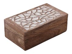 Bulk Wholesale Hand-Carved Set of 3 Mango-Wood Square Jewelry Boxes / Trinket Boxes in Brown & White Color with Intricate Carving in Abstract Pattern at the Top – Antique-Look Keepsake Boxes from India