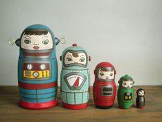 マトリョーシカ5個組(ロボット) http://creators.dmkt-sp.jp/goods/GI99106XFQDC/ あなただけの逸品に出会えるdクリエイターズから Kimura and Co. Matryoshka dolls -- robots #japanesedesign