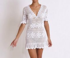 Crochet Cotton Summer Dress Made to Order in any size by DearAlina