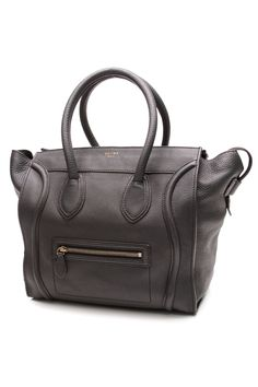 A Celine Mini Luggage tote rendered in dark gray leather... be still our hearts.