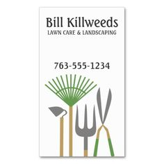 Yard tools rake clippers lawn care landscaping business cards