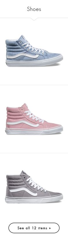 """""""Shoes"""" by silkaperez ❤ liked on Polyvore featuring shoes, sneakers, pastel, laced shoes, vans footwear, lace up sneakers, lace up high top sneakers, pastel sneakers, vans and pink"""