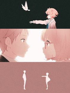 Kyoukai no Kanata | don't know why but i feel this pic is so heart-touching, mirai-san and her senpai