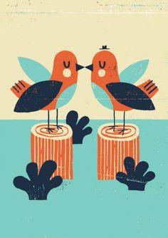 Ben Javens Postkaart - Bird Kiss