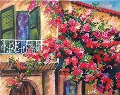 """Ginger will take you on a journey to Tuscany Italy where she will teach you to use acrylic paints to create this masterpiece entitled """"Tuscany Balcony with Flowers"""". Let Ginger Cook show your step by step how to easily paint in this charming Italian villa with it's wrought iron balcony, stucco walls, and cascading pink and magenta flowers. This 8x10 painting is a must see and paint.  A white Posca pen was used for the railing on the balcony and standard colors from Ginger's palette (the ones…"""