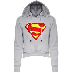 Stylish Hooded Long Sleeve Color Block Women's Superman Fleece Cropped... ($14) ❤ liked on Polyvore featuring tops, hoodies, hooded pullover, cropped hoodies, sweatshirt hoodies, long sleeve hoodie and hooded fleece pullover
