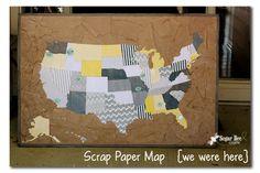 Scrap Paper Map {we were here} ~ Sugar Bee Crafts