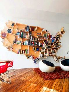 Books, library shelves AND a great teaching tool - all wrapped up in art for the wall. How cool is that?