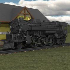Steam Locomotive (for Poser) Models Digimation_ModelBank Poser 3d, Steam Locomotive, Trains, Models, Templates, Train, Fashion Models