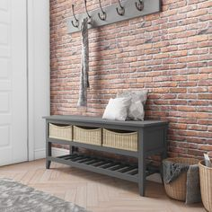 Buy Elms Farmhouse Dark Grey Hall Storage Shoe Rack Bench with Wicker Baskets & Cushion from - the UK's leading online furniture and bed store Porch Storage, Entryway Furniture, Coat Rack With Storage, Shoe Rack Bench, Shoe Rack With Seat, Hall Bench With Storage, Shoe Rack Hallway, Bench With Storage, Seat Storage