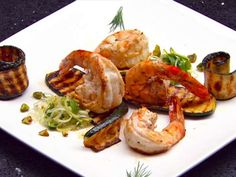 Prawns with Chargrilled Zucchini and Leek and Olive Salad Master Chef, Masterchef Recipes, Lobster Salad, Masterchef Australia, Olive Salad, Cooking Cake, Prawn, Shrimp, Gourmet