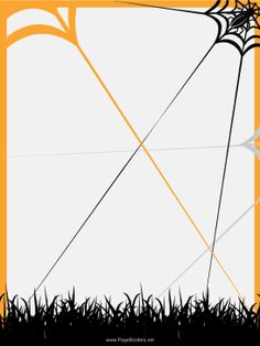 A spider weaves an orange and black web in the grass on this free, printable Halloween border. Free to download and print.