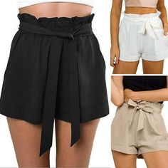 Women Bow Tie High Waist Cotton Shorts Flounced Beach Shorts