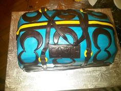 blue coach purse cakes | This coach purse was a fun project to work on. The cake is a ...