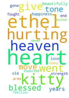 My heart is hurting. My kitty Ethel went to heaven - My heart is hurting. My kitty Ethel went to heaven today. She was a beautifully spirited kitty who fought until the bitter end. She died in my arms and I was blessed to have been there with her. My heart and my families hearts are hurting. She was only 3 years old and I never expected her tone gone so soon. Please give me the strength to move through this time. And Father, please love Ethel in heaven and give her the happiness she deserves…