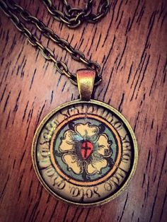 Luther's Seal Luther's Rose with Latin inscription handcrafted glass pendant by OlinFernDesigns on Etsy
