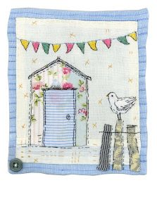 Sharon Blackman: watering can, ballet dancer & beach hut! Sewing Appliques, Applique Patterns, Applique Quilts, Embroidery Applique, Embroidery Stitches, Bird Applique, Freehand Machine Embroidery, Free Motion Embroidery, Free Machine Embroidery