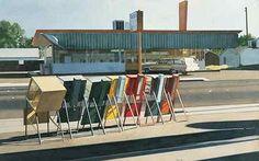 """News Stands, Los Banos, 1973"" Robert Bechtle"