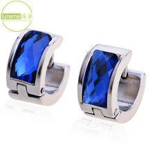 Novos 2014 Hot Selling Projeto Lureme Moda dos homens da marca de jóias de titânio Blue Steel brincos de cristal de alta qualidade para Tide Meninos(China (Mainland))