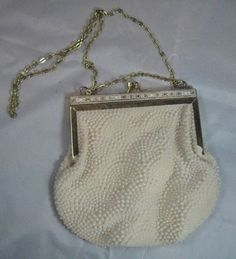 c55233ad8f6 Vintage Prom Beaded White Formal Evening Purse Regal Decorative Pattern  Spring
