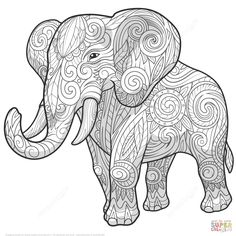 Zentangle de Elefante Étnico | Super Coloring                                                                                                                                                      Más