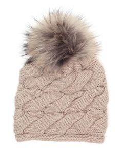 f153843fed6 Cable woven cashmere beanie with a fox fur pom pom by INVERNI at Browns  Fashion for