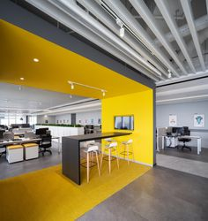 Bylu Design was engaged by Pirelli, an Italian tire company, to design their offices located in Shanghai, China. Pirelli was founded in Milan in It Open Office Design, Office Reception Design, Industrial Office Design, Showroom Interior Design, Interior Architecture, Yellow Office, Startup Office, Yellow Interior, Workspace Design